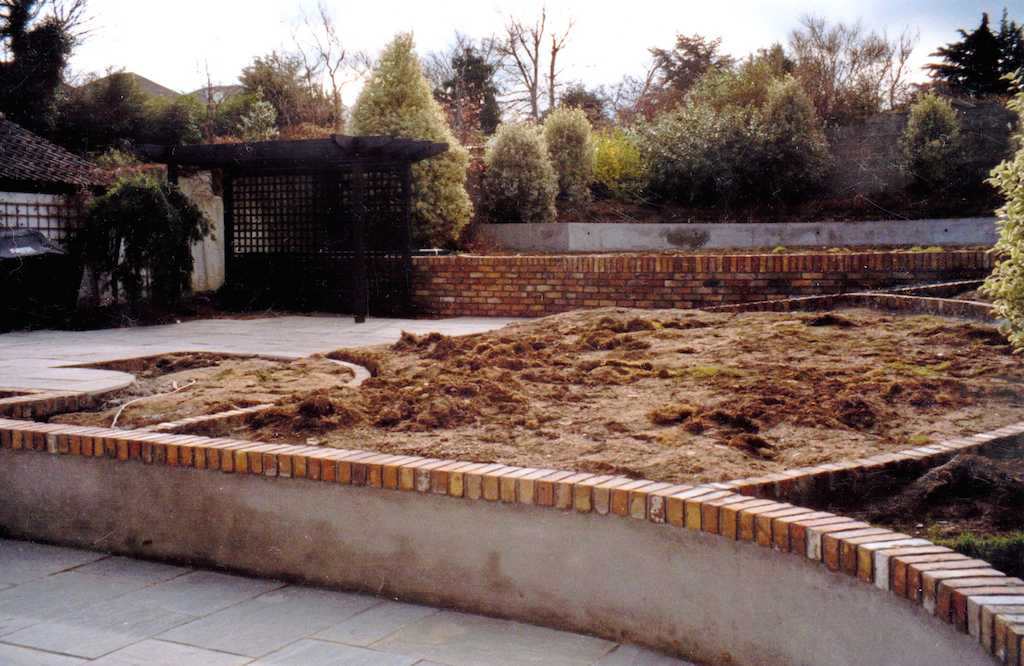 17a-landscape-patio-paving-brick -garden-wall-pergola-landscaping-company-landscape-gardener-timber trellis-foundations-landscapers-groundwork-footings-design-kent-before 17